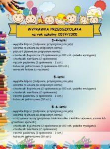 Wyprawka przedszkolaka na rok 2019/2020
