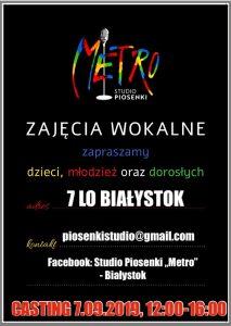 """Zaproszenie na casting Studia Piosenki """"Metro"""""""