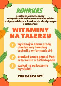 """Konkurs plastyczny """"Witaminy na talerzu"""""""