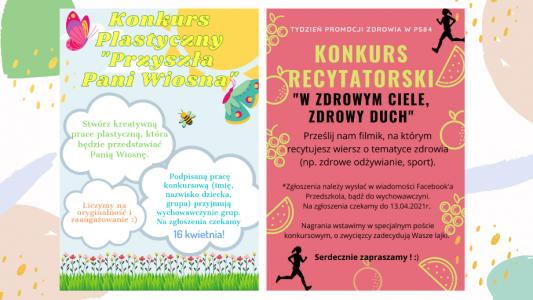 Zachęcamy Przedszkolaki do udziału w wiosennych KONKURSACH